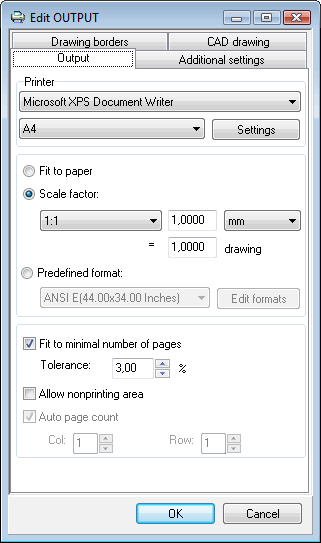 Figure 6: Output printing settings
